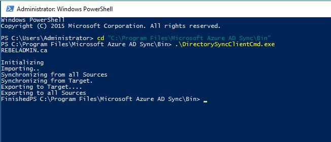 How to force Azure AD Sync to sync data with Azure AD