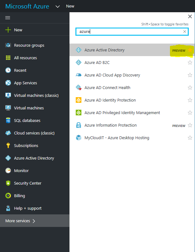 Azure Active Directory management experience in preview