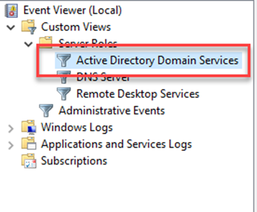Review Active Directory Domain Service Events with