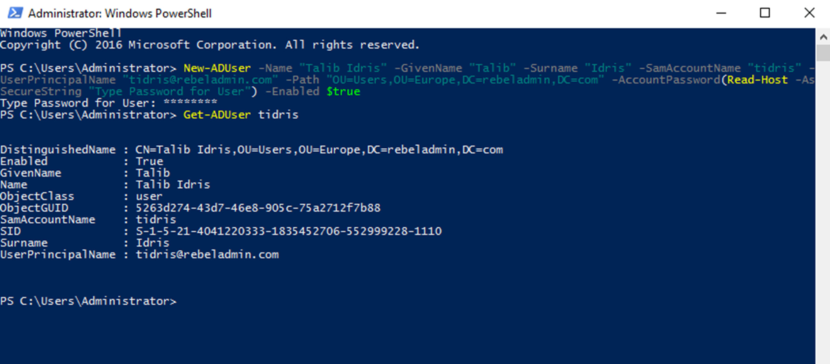 Create Active Directory User Objects using PowerShell - RebelAdmin com