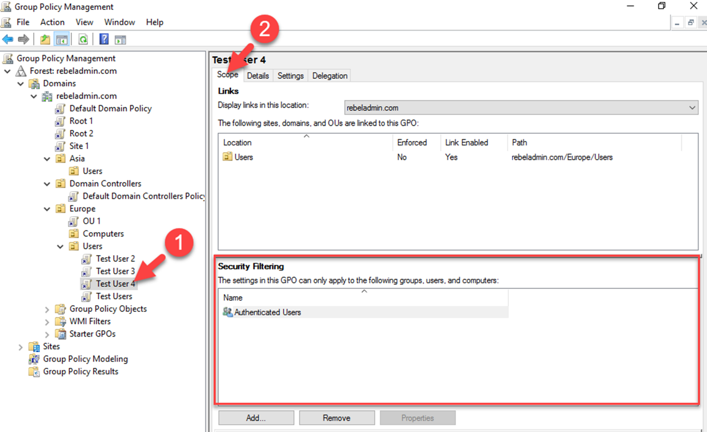 Group Policy Security Filtering - RebelAdmin com