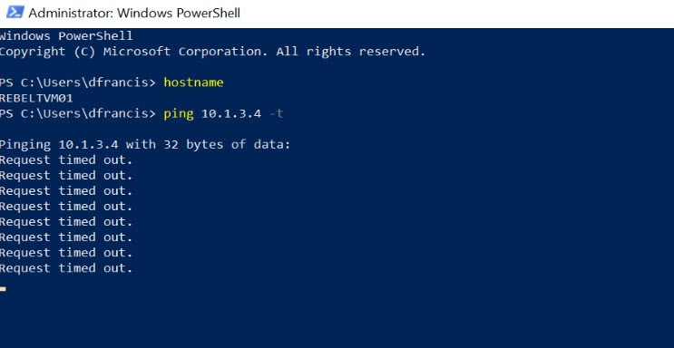 PING Test 01 from Azure VM