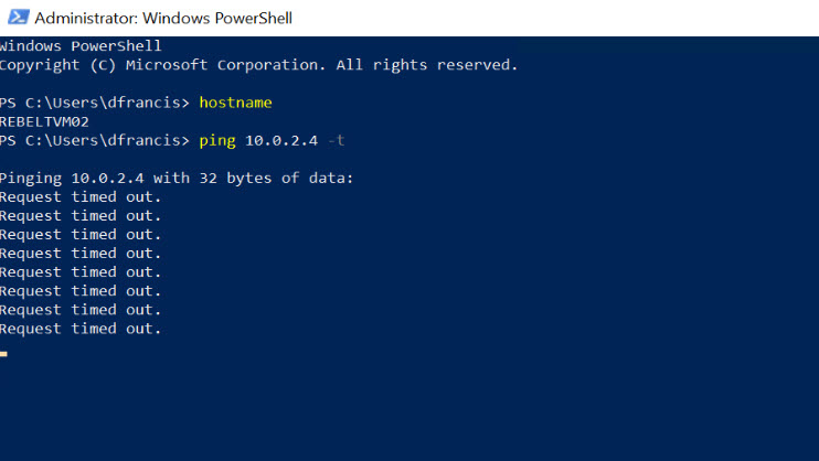 PING Test 02 from Azure VM