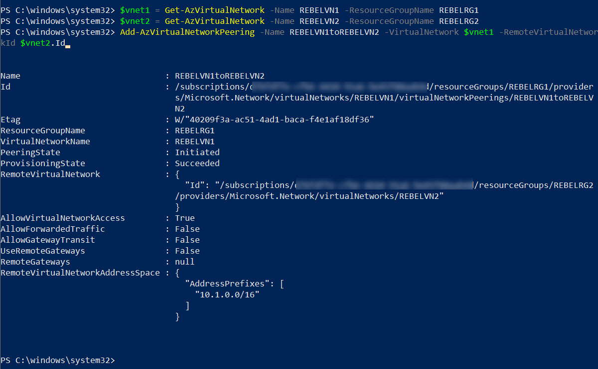 Enable Azure Global VNET Peering from REBELVN1 to REBELVN2