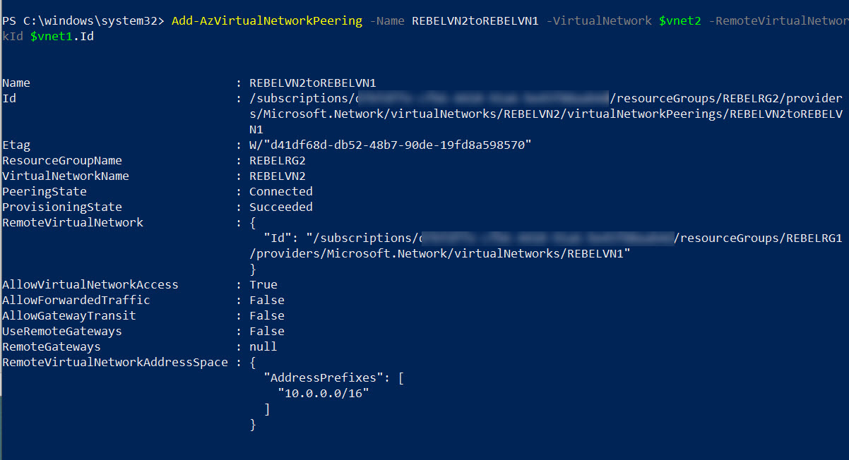 Enable Azure Global VNET Peering from REBELVN2 to REBELVN1