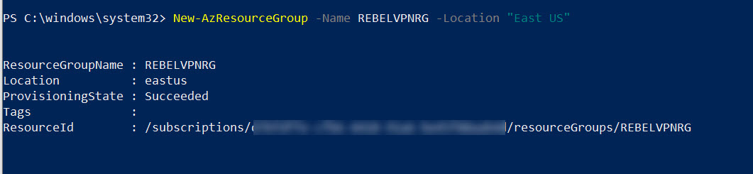 Create new Azure Resoruce Group