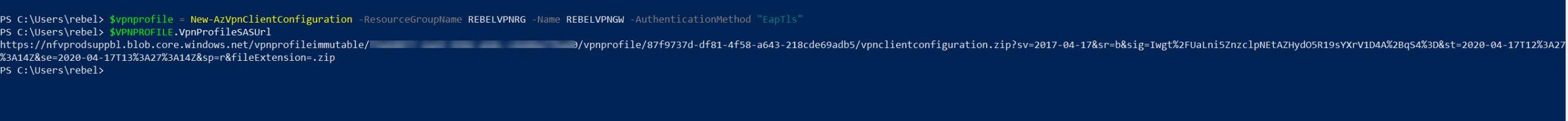 Generate VPN profile settings XML