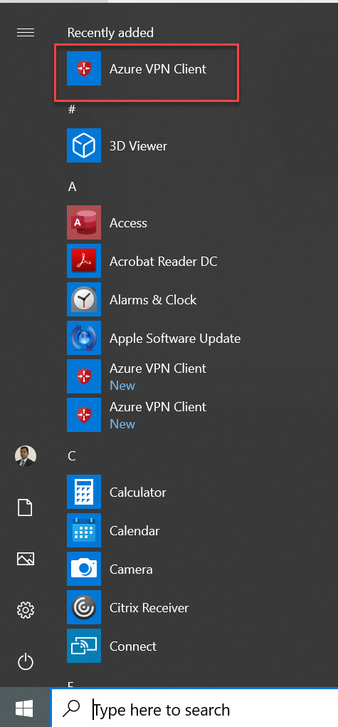 Install Azure VPN client for Azure P2S VPN Testing