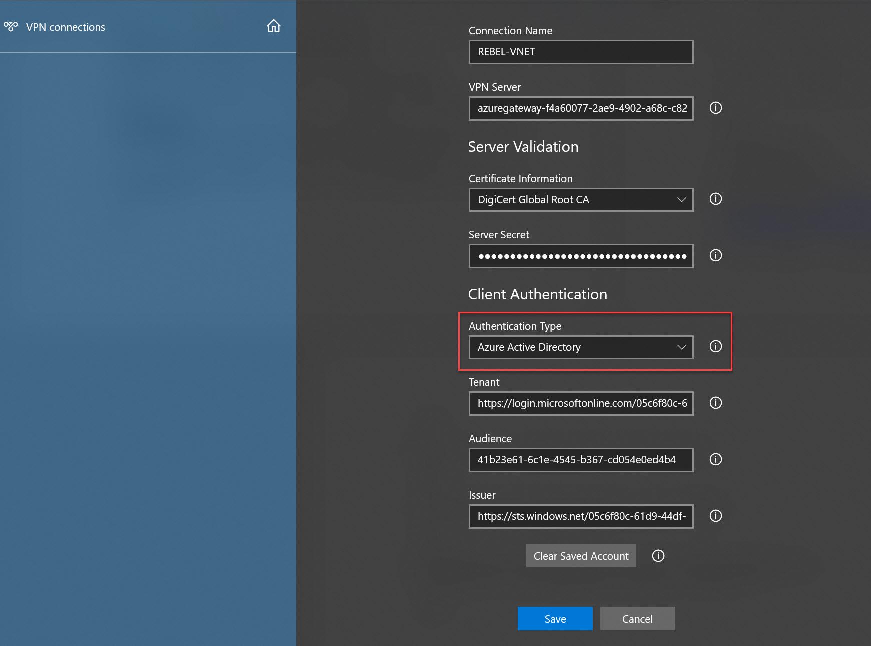 Set Azure VPN client authentication method to Azure AD