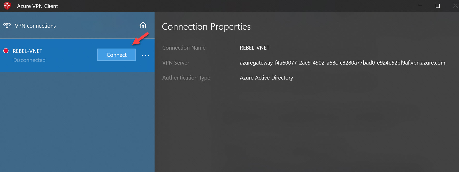 Establish Azure P2S VPN Connection