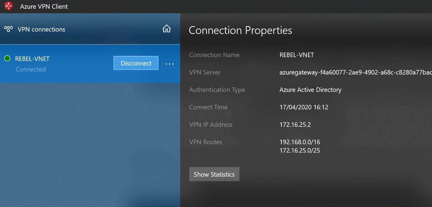 Verify Azure P2S VPN status
