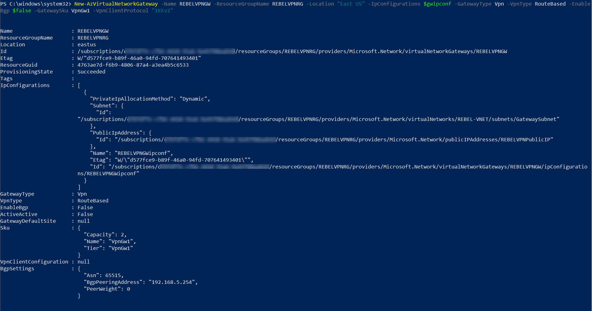 Create Azure VPN Gateway