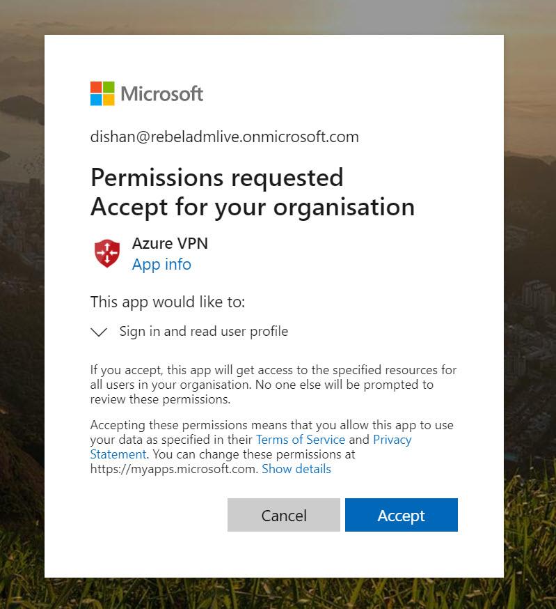 Grant Azure AD permissions to Azure VPN App