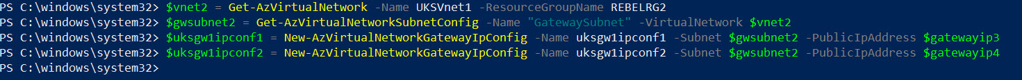 create azure vpn gateway ip configration