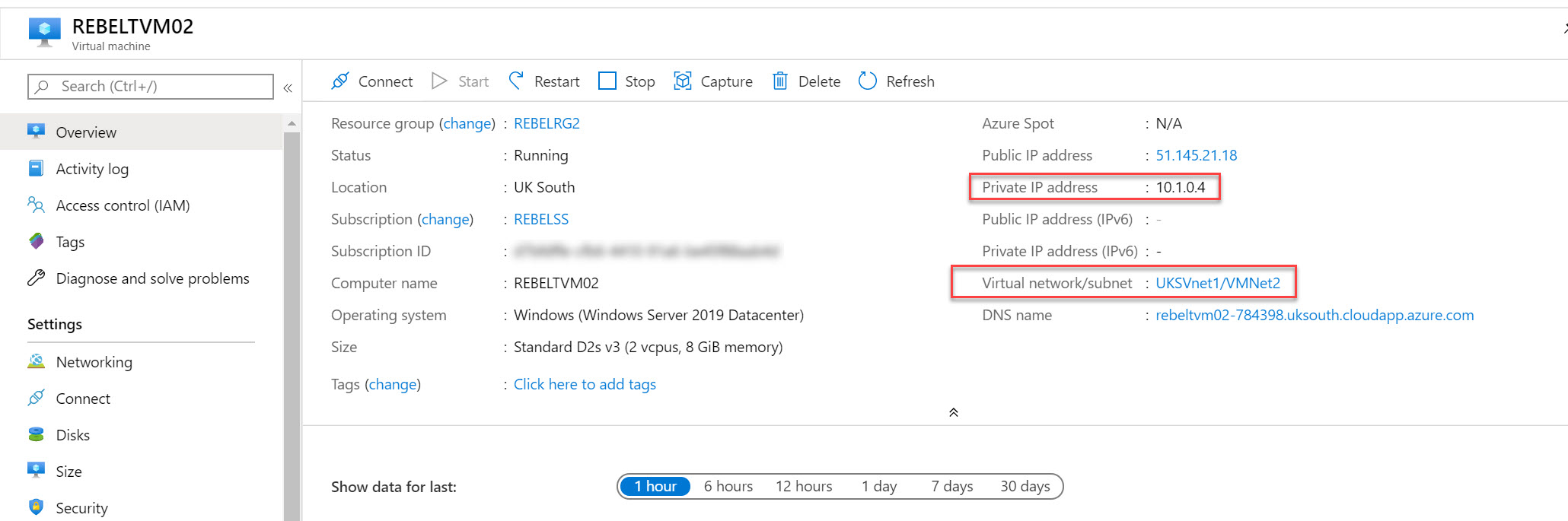 azure virtual machine properties page