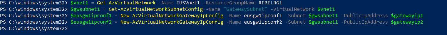 Create Azure VPN gateway IP configurations