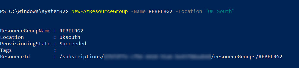setup new azure resource group for remote infrastructure