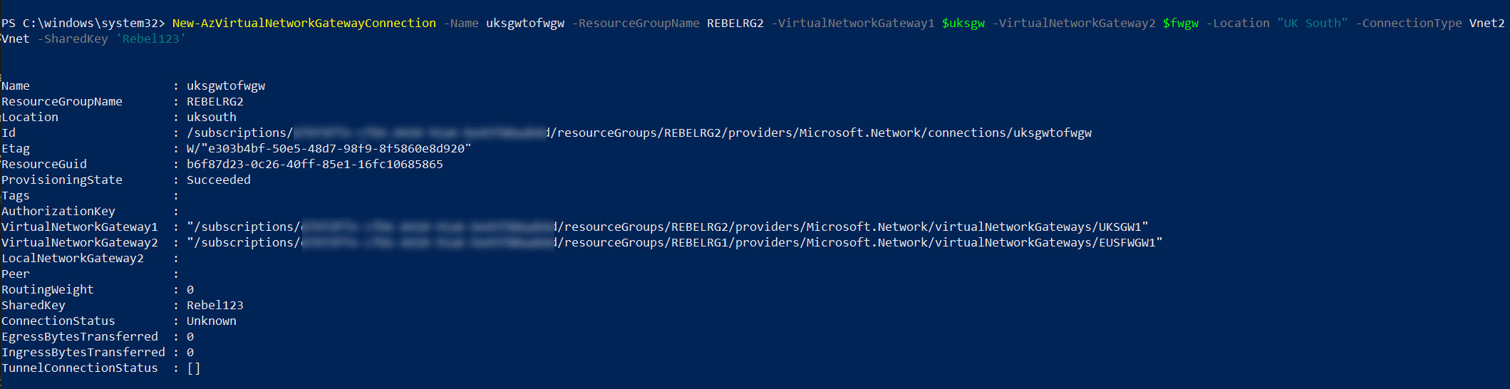 VNet-to-VNet connection between Remote network and Azure Firewall network