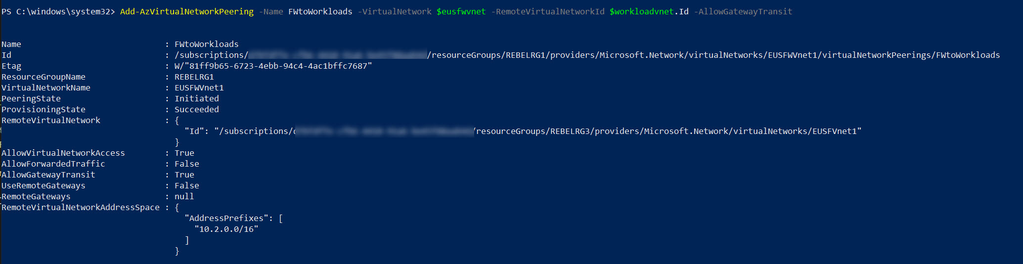 Create VNet Peering from Azure Firewall virtual network to Workloads network