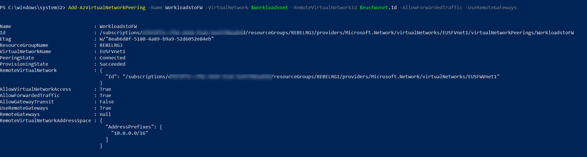 Create VNet Peering from Workloads network to Azure Firewall virtual network