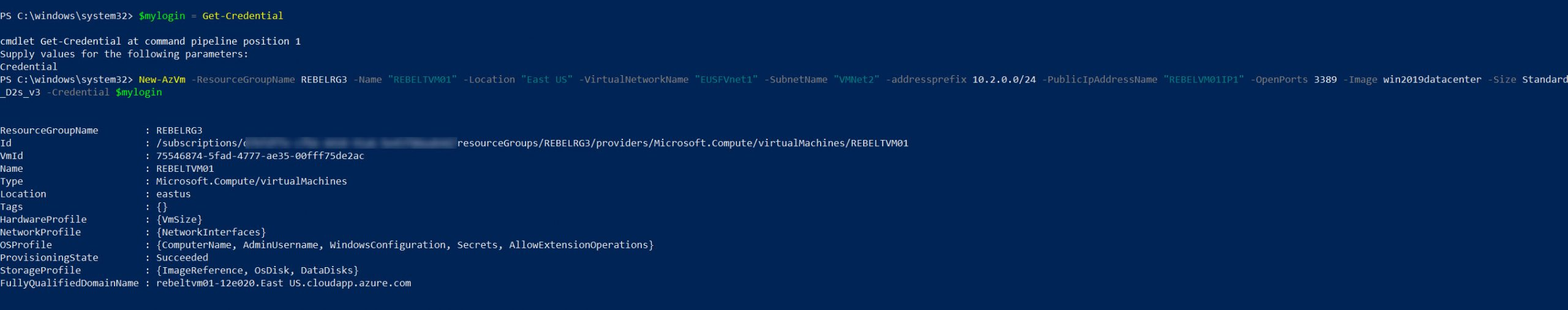 create azure vm in workload infrastructure
