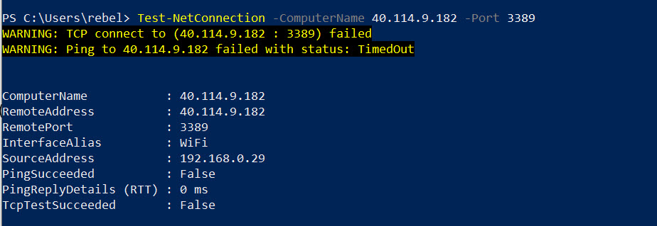 test net connection to azure vm