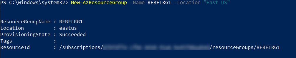 setup azure resource group