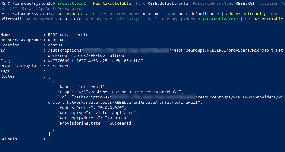 create azure firewall routing table