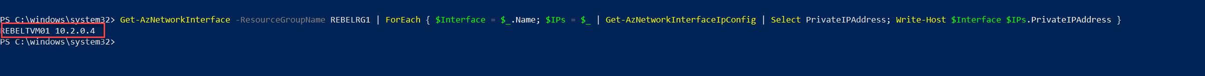 azure vm private ip