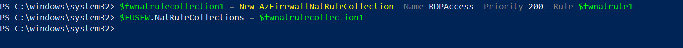 associate azure firewall DNAT rule with firewall rule collection