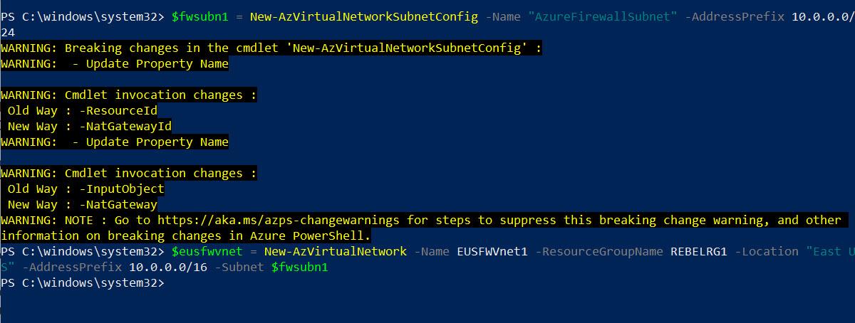 setup azure firewall subnet