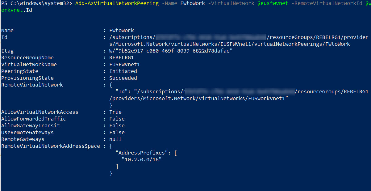 setup azure vnet peering from firewall network to production network