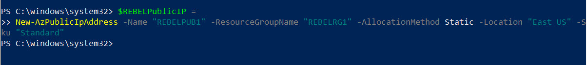 Create new Azure Public IP Address