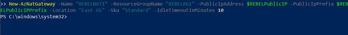 Create Azure NAT Gateway