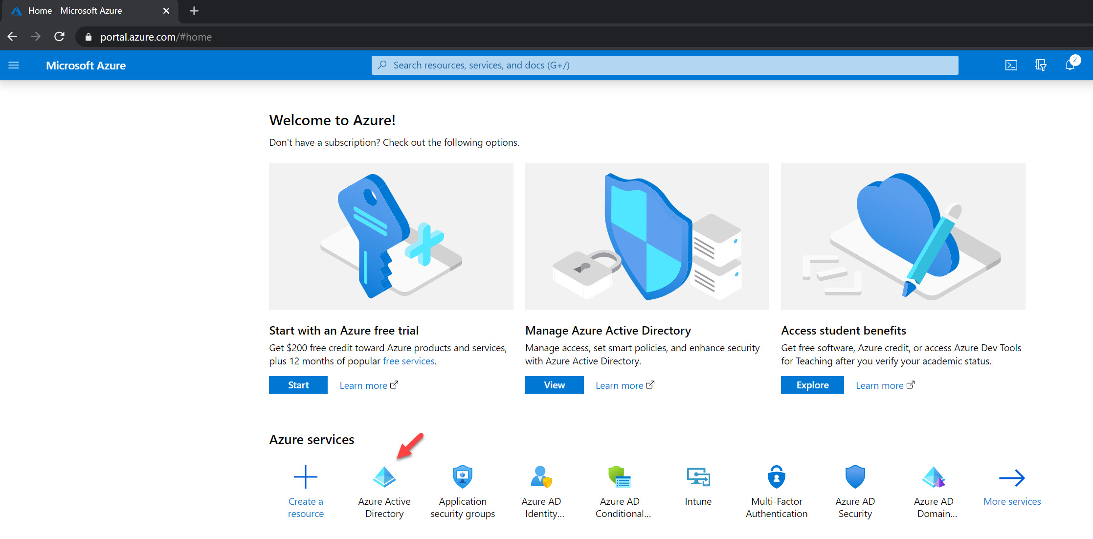 azure active directory tile