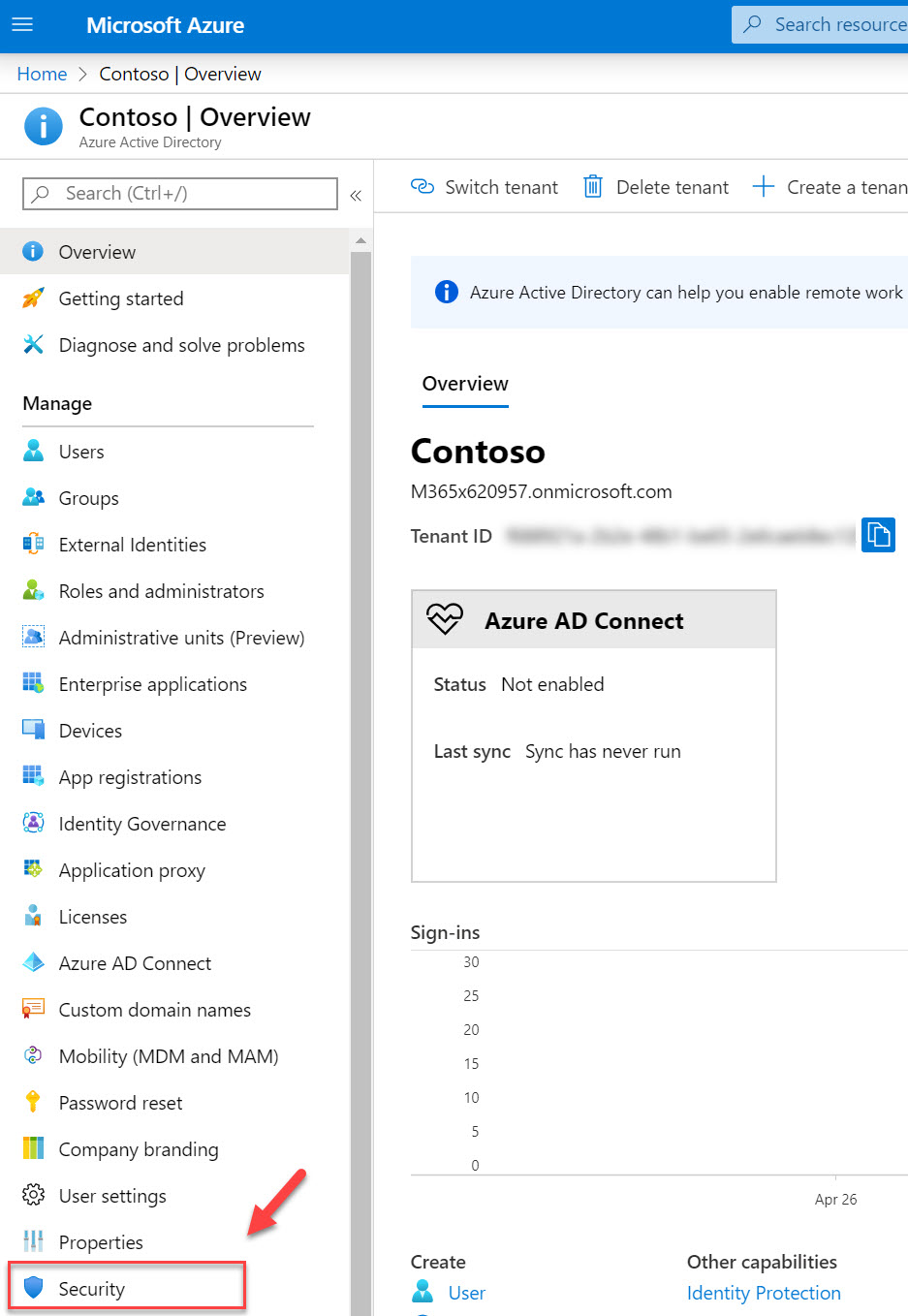 azure active directory security settings