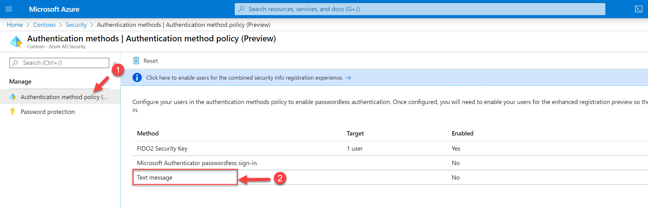 Authentication method policy text message settings