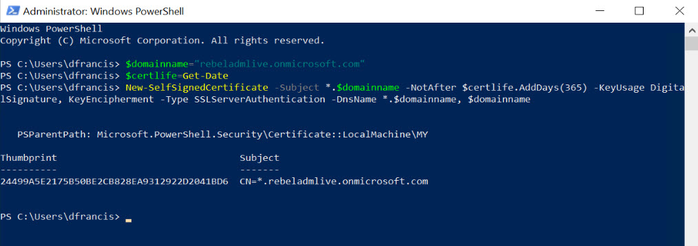 create self sign certificate powershell