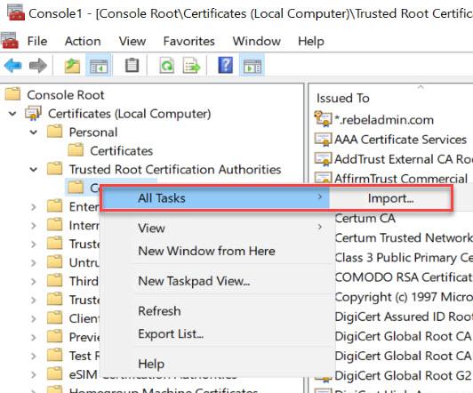 ssl certificate import