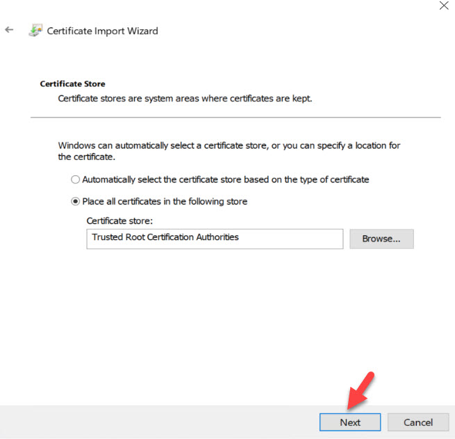 ssl certificate import wizard screen 3