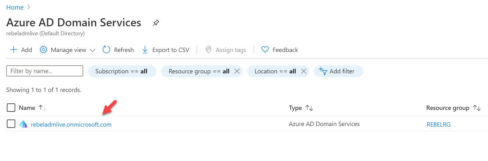 Azure Active Directory Domain Services instance