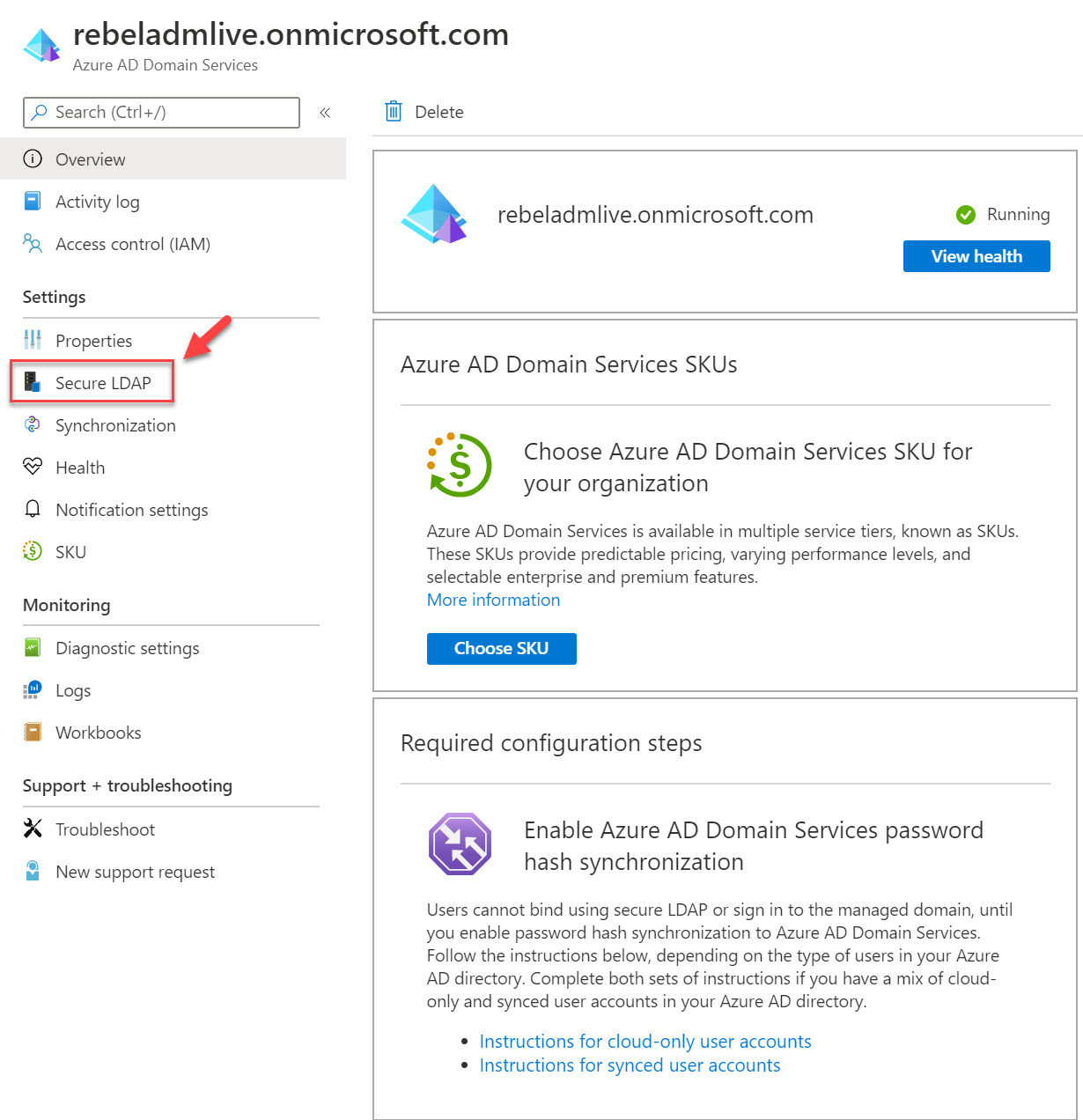 Azure Active Directory Domain Services secure LDAP
