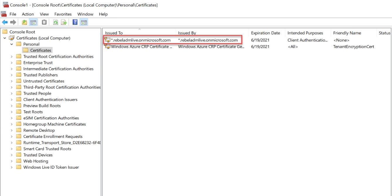 SSL certificate mmc