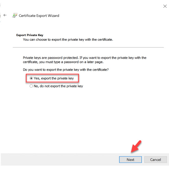 export certificate wizard screen 2