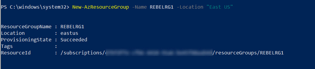 create new azure resource group