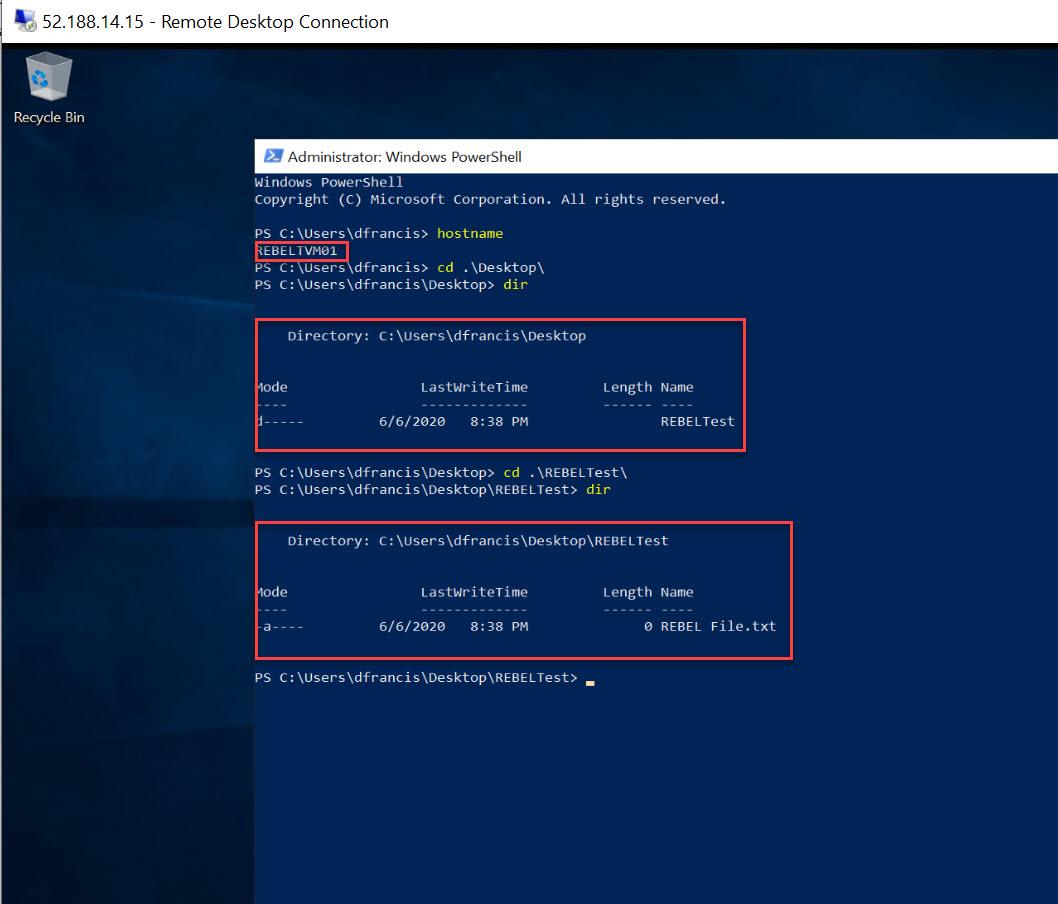 verify new Azure Windows Virtual Machine