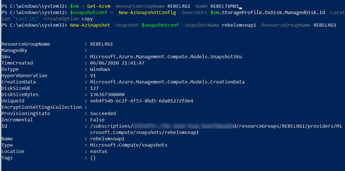 create Azure windows virtual machine snapshot
