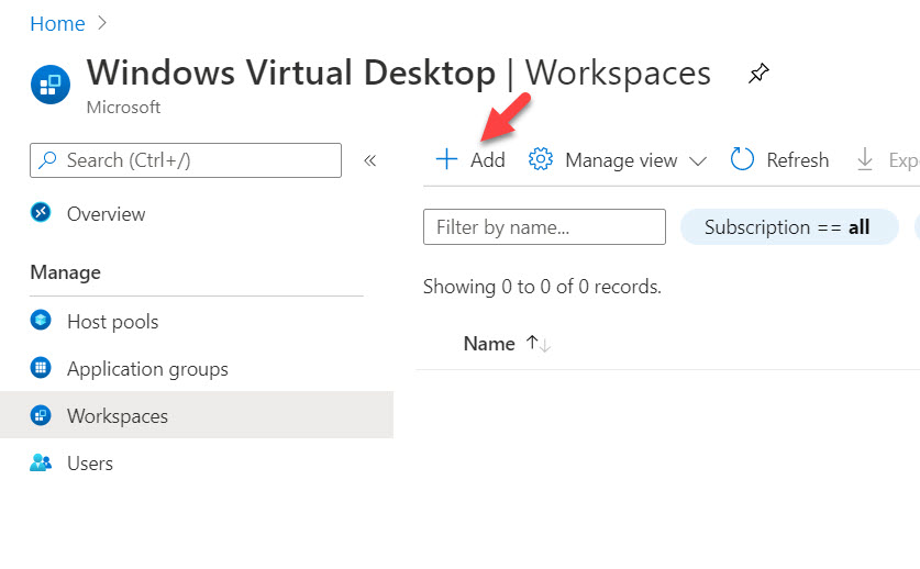 create Windows Virtual Desktop workspace