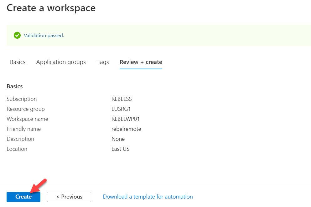 complete Windows Virtual Desktop workspace setup