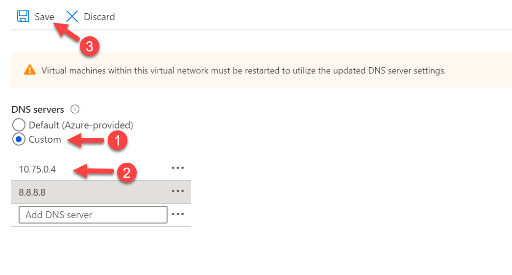 save virtual network dns settings